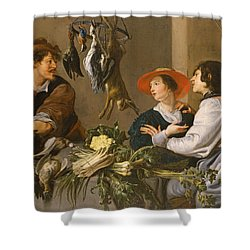 Game And Vegetable Sellers Oil On Canvas Shower Curtain by Theodor Rombouts