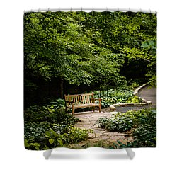 Garden Bench Shower Curtain by Joe Mamer