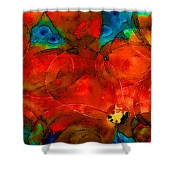 Garden Spirits - Vibrant Red Flowers By Sharon Cummings Shower Curtain by Sharon Cummings