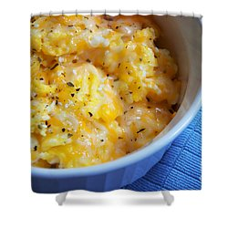 Garlic Cheesy Eggs Shower Curtain by Andee Design
