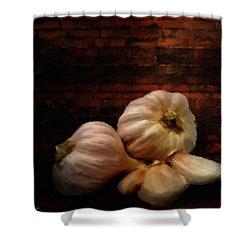 Garlic Shower Curtain by Lourry Legarde