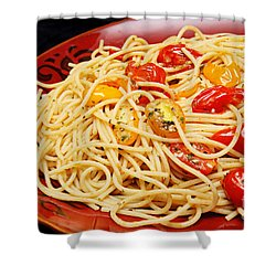 Garlic Pasta And Grape Tomatoes Shower Curtain by Andee Design