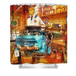 Gearhead Workshop Photo Art Shower Curtain by Thomas Woolworth