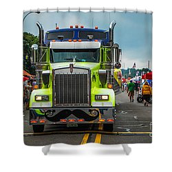Geico Truck Straight On Shower Curtain by Grace Grogan