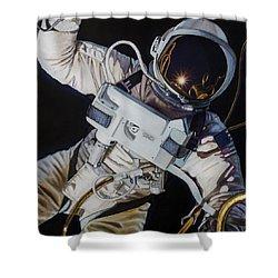 Gemini Iv- Ed White Shower Curtain by Simon Kregar