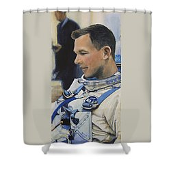 Gemini Viii Dave Scott Shower Curtain by Simon Kregar