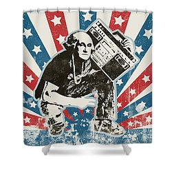 George Washington - Boombox Shower Curtain by Pixel Chimp