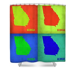 Georgia Pop Art Map 1 Shower Curtain by Naxart Studio