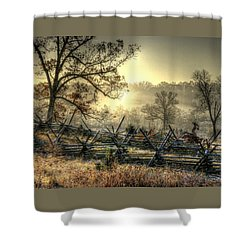 Gettysburg At Rest - Sunrise Over Northern Portion Of Little Round Top Shower Curtain by Michael Mazaika