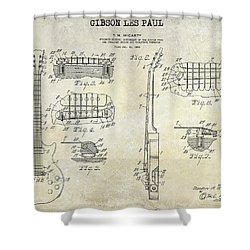 Gibson Les Paul Patent Drawing Shower Curtain by Jon Neidert