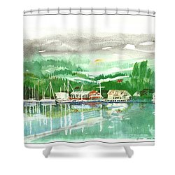 Gig Harbor Waterfront Shower Curtain by Jack Pumphrey