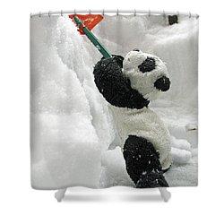 Ginny The Baby Panda In Winter #01 Shower Curtain by Ausra Huntington nee Paulauskaite