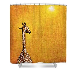 Giraffe Looking Back Shower Curtain by Jerome Stumphauzer