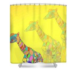 Giraffe X 3 - Yellow - The Card Shower Curtain by Joyce Dickens