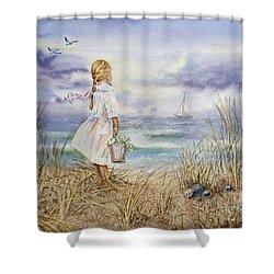 Girl At The Ocean Shower Curtain by Irina Sztukowski