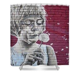 Girl Blowing A Dandelion Shower Curtain by Chris Dutton
