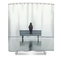 Girl On A Bench Shower Curtain by Joana Kruse