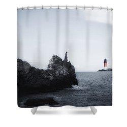 Girl On Cliffs Shower Curtain by Joana Kruse