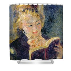 Girl Reading Shower Curtain by Pierre Auguste Renoir