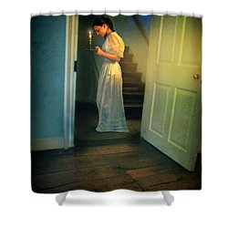 Girl With A Candle Shower Curtain by Jill Battaglia