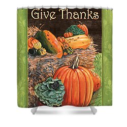 Give Thanks Shower Curtain by Debbie DeWitt