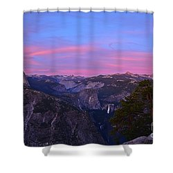 Glacier Point With Sunset And Moonrise Shower Curtain by Cassie Marie Photography