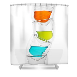 Glass Cups And Colorful Drinking II Liquid Art Shower Curtain by Paul Ge