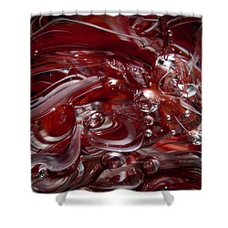 Glass Macro Abstract - Crimson And Gray Iv Shower Curtain by David Patterson