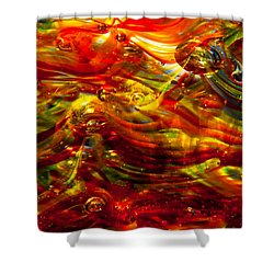 Glass Macro - Burning Embers Shower Curtain by David Patterson