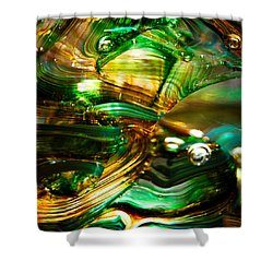 Glass Macro - Waves Of Amber Shower Curtain by David Patterson