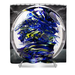 Glass Sculpture Cobalt Blue And Yellow - 13r2 Shower Curtain by David Patterson