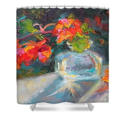 Gleaning Light Nasturtium Still Life Shower Curtain by Talya Johnson