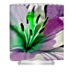 Glowing Lily Heart  Shower Curtain by Danielle  Parent