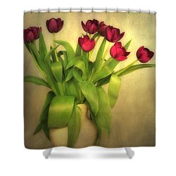 Glowing Tulips Shower Curtain by Annie Snel