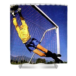 Goalkeeper Catches The Ball Shower Curtain by Lanjee Chee