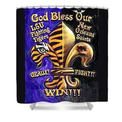 God Bless Our Tigers And Saints Shower Curtain by Mike Roberts