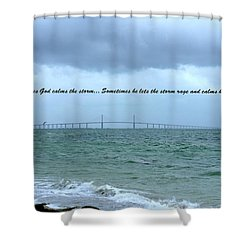 God Calms The Storm Shower Curtain by Laurie Perry
