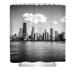 Gold Coast Skyline In Chicago Black And White Picture Shower Curtain by Paul Velgos