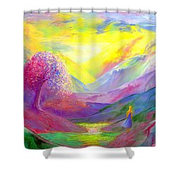 Gold Horizons Shower Curtain by Jane Small