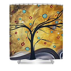 Golden Admiration By Madart Shower Curtain by Megan Duncanson