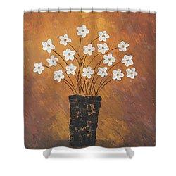 Golden Flowers Shower Curtain by Home Art