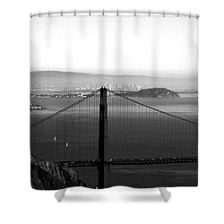 Golden Gate And Bay Bridges Shower Curtain by Linda Woods