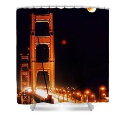 Golden Gate Night Shower Curtain by DJ Florek