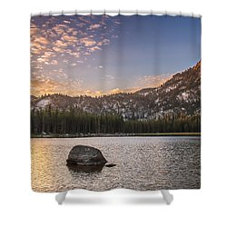 Golden Gunsight Peak Shower Curtain by Robert Bales