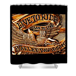 Golden Harley Davidson Logo Shower Curtain by Chris Berry