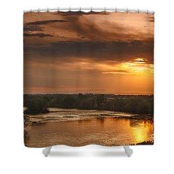 Golden Payette River Shower Curtain by Robert Bales