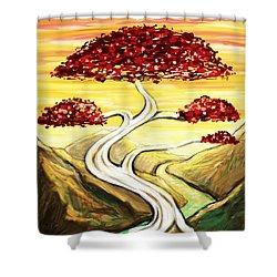 Golden Sunrise Shower Curtain by Shawna  Rowe