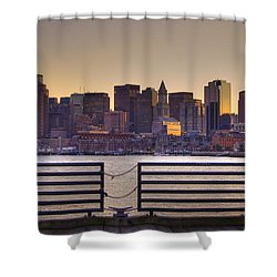 Golden Sunset Over Boston Shower Curtain by Joann Vitali