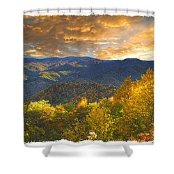 Golden Tipped Smokey's  Shower Curtain by Randall Branham