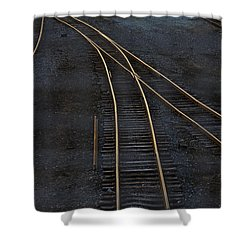 Golden Tracks Shower Curtain by Margie Hurwich